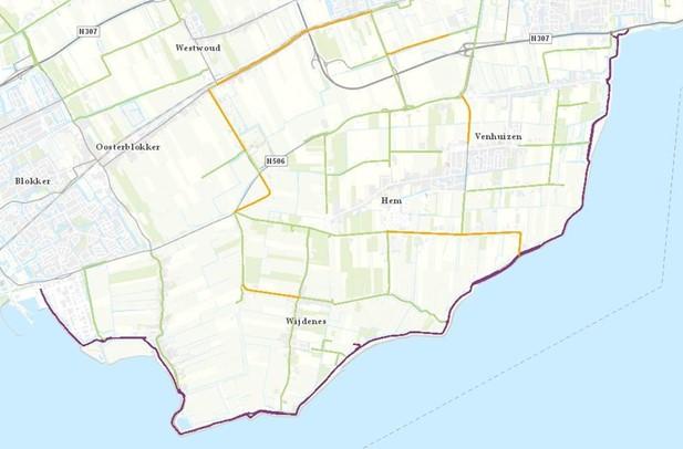 Kaart met het ingetekende proefgebied Zuiderdijk