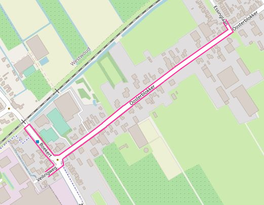 plattegrond wegwerkzaamheden Veilingweg  en Boekert